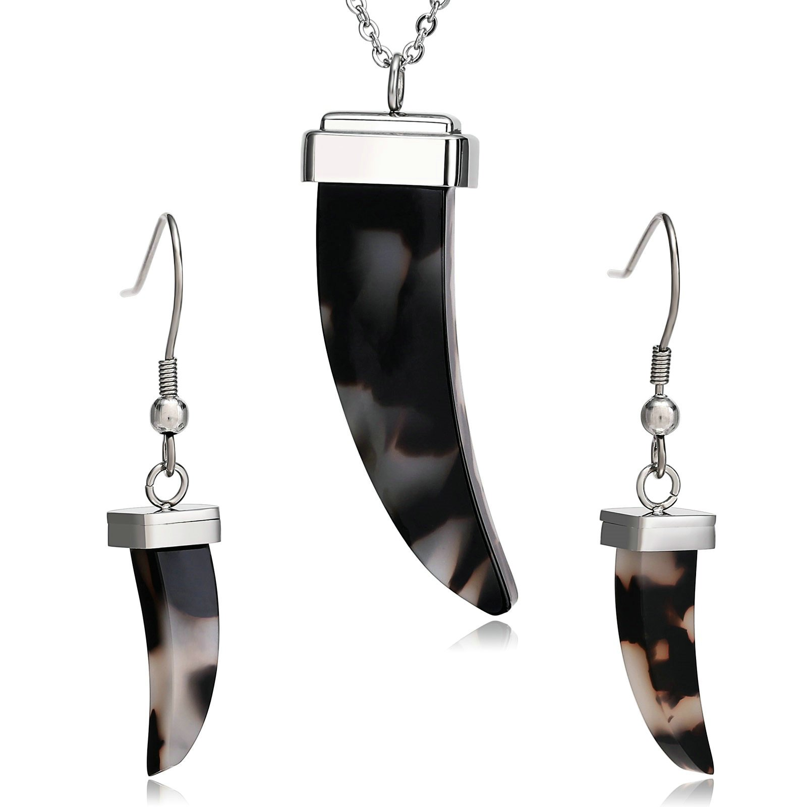 AmDxD Jewelry Stainless Steel Earring and Necklace Set for Womens Crescent Moon Silver Black