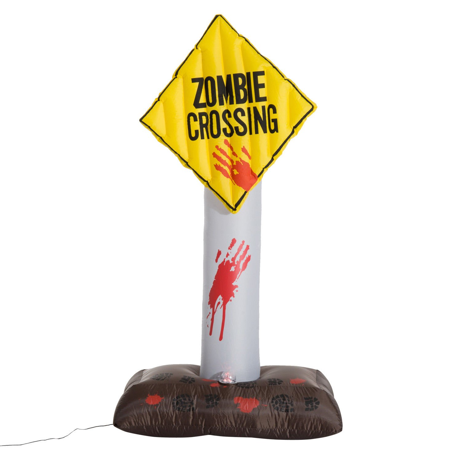 HOMCOM 6' Tall Outdoor Lighted Airblown Inflatable Halloween Decoration - Zombie Crossing Street Sign