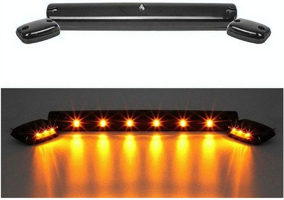 Extra Safety Extra Clearness Smoked Roof Top Marker 12 LED Amber Cab Lights 3PCS Set for 2007-2014 Chevrolet and GMC Trucks