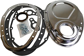 Chrome Timing Chain Cover 2 Piece Quick Change Chevy SBC Small Block 305 327 350