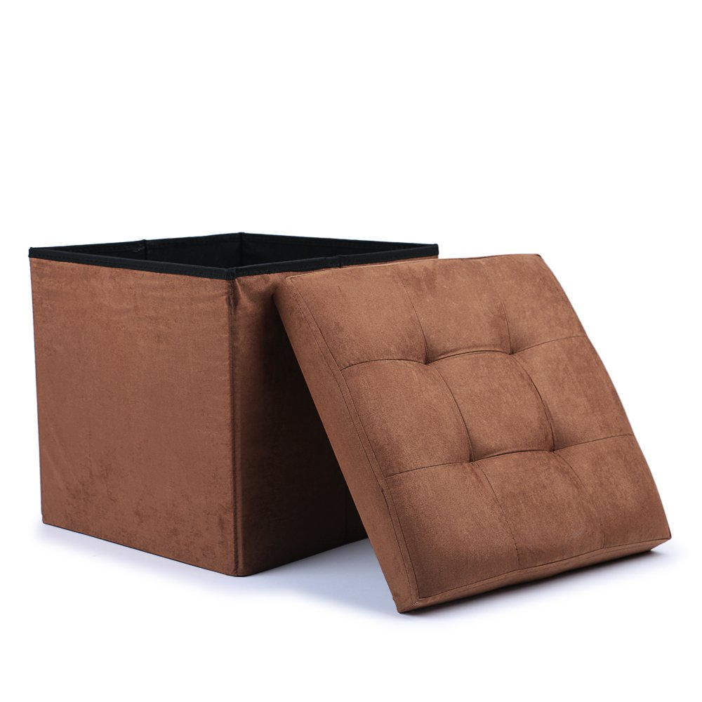 WoneNice Folding Storage Ottoman, Use as Footstool, Toy Box, Blanket Box,Storage Chest, Padded Seat, Space-saving, Max Load 300 lbs, 15''X15'' X15''