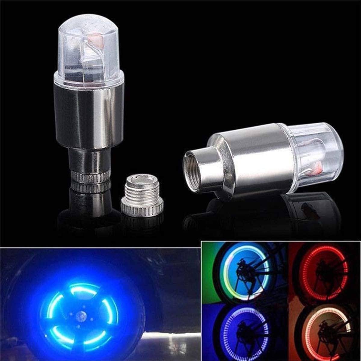4pcs Bike Car Motor Wheel Tyre Tire Valve Cap LED Light Spoke Flashing Lamp