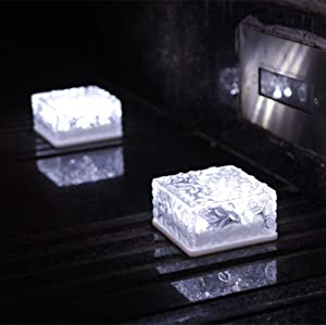 Solar Brick Lights - Solar Ice Cube Lights Outdoor Waterproof Brick Light Lamp for Garden Courtyard Pathway, Christmas Festival Decorative Ice Rock Cube Lights (4 Pack) (Cold White)