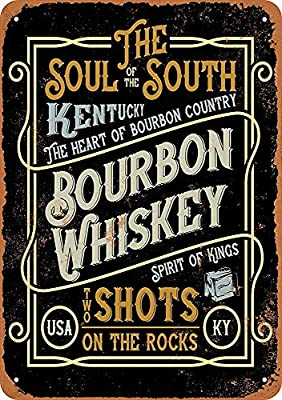 "Bruyu5se Tin Sign 7"" x 10"" Metal Sign Kentucky Bourbon Whiskey Vintage Look Wall Sign Decorative Sign Retro Sign Aluminum Sign"