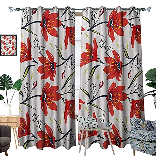 (BlountDecor Floral Patterned Drape for Glass Door Hand Drawn Vintage Flourishing Tulip Flowers Nature Garden Theme Pattern Waterproof Window Curtain W120 x L84 Peach Green and Red)