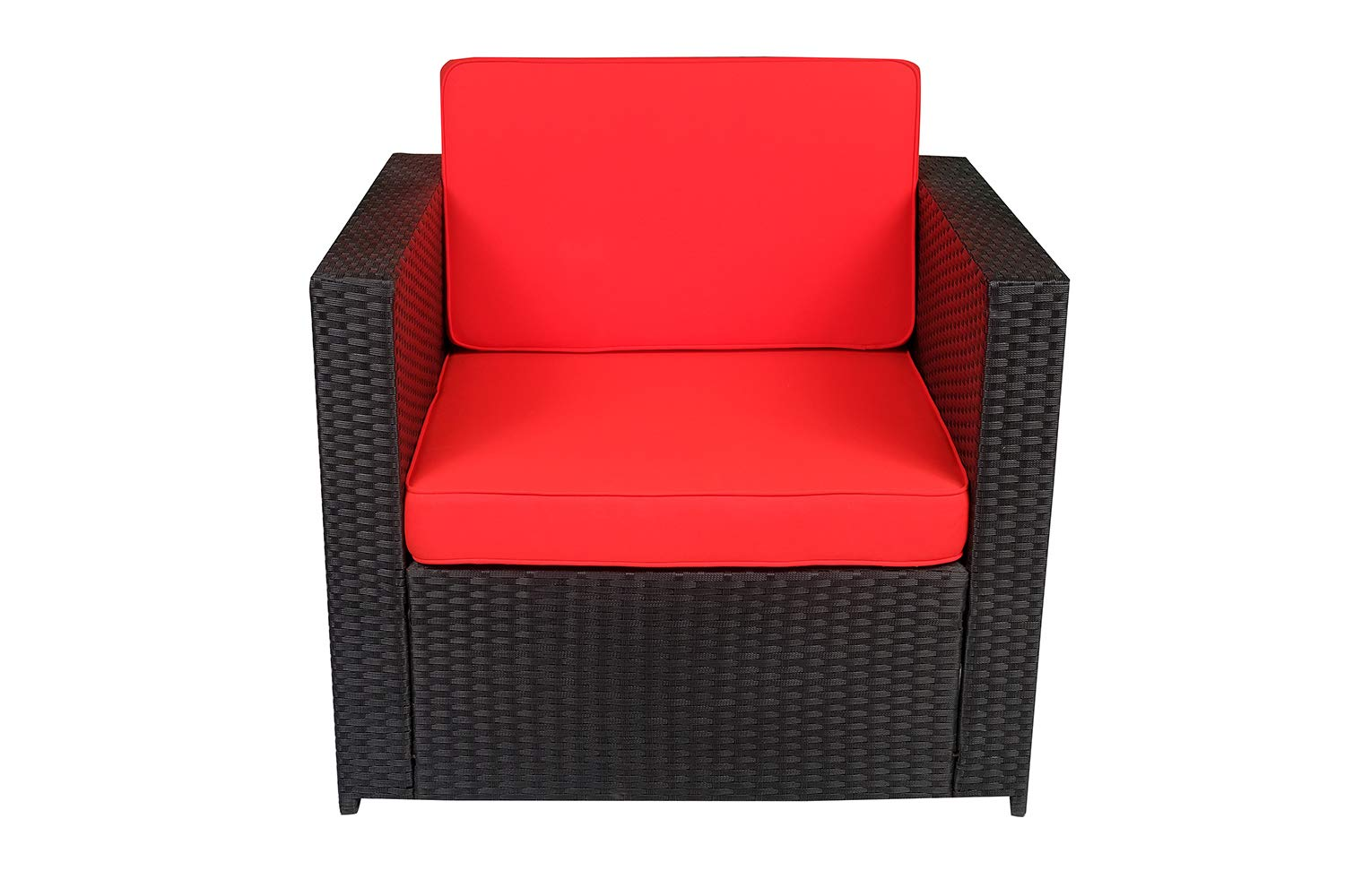 Astonishing Mcombo Outdoor Rattan Wicker Sofa Couch Patio Furniture Chair Garden Sectional Set With Waterproof Cushions Diy Armrest Chair Red 6088 Download Free Architecture Designs Scobabritishbridgeorg