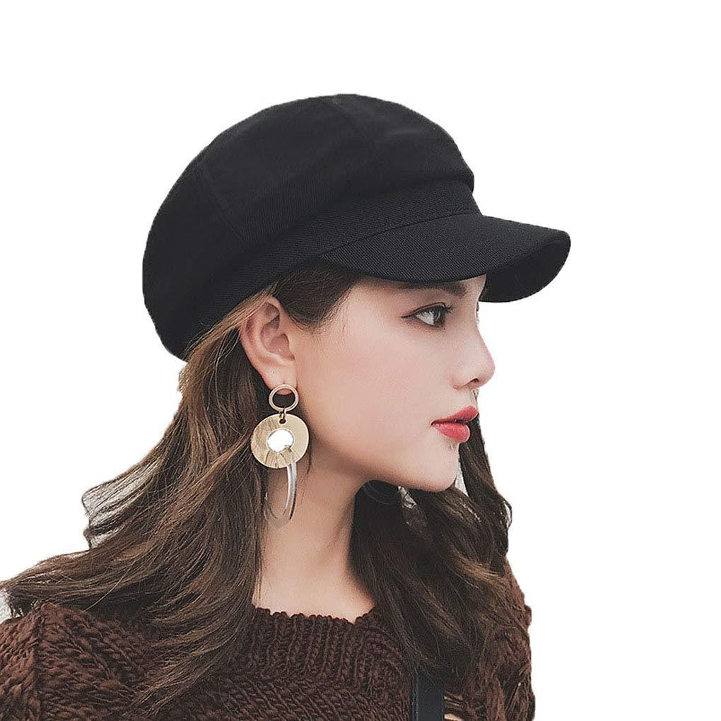Taylormia Womens Fall Winter Classic Newsboy Cabbie Beret Hat Soft Warm Wool Octagonal Cap(Black)