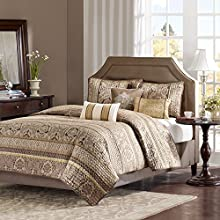 Madison Park Bellagio King Size Quilt Bedding Set - Brown, Jacquard Damask – 6 Piece Bedding Quilt Coverlets – Faux Silk Bed Quilts Quilted Coverlet
