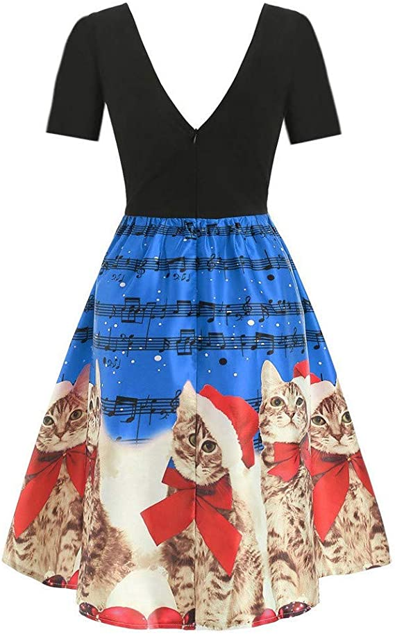 Elegante Kleider Damen Kleid Cocktailkleider Ronamick Frauen Kurze Armel Weihnachten Cats Musical Notizen Print Vintage Flare Kleid Amazon De Kuche Haushalt