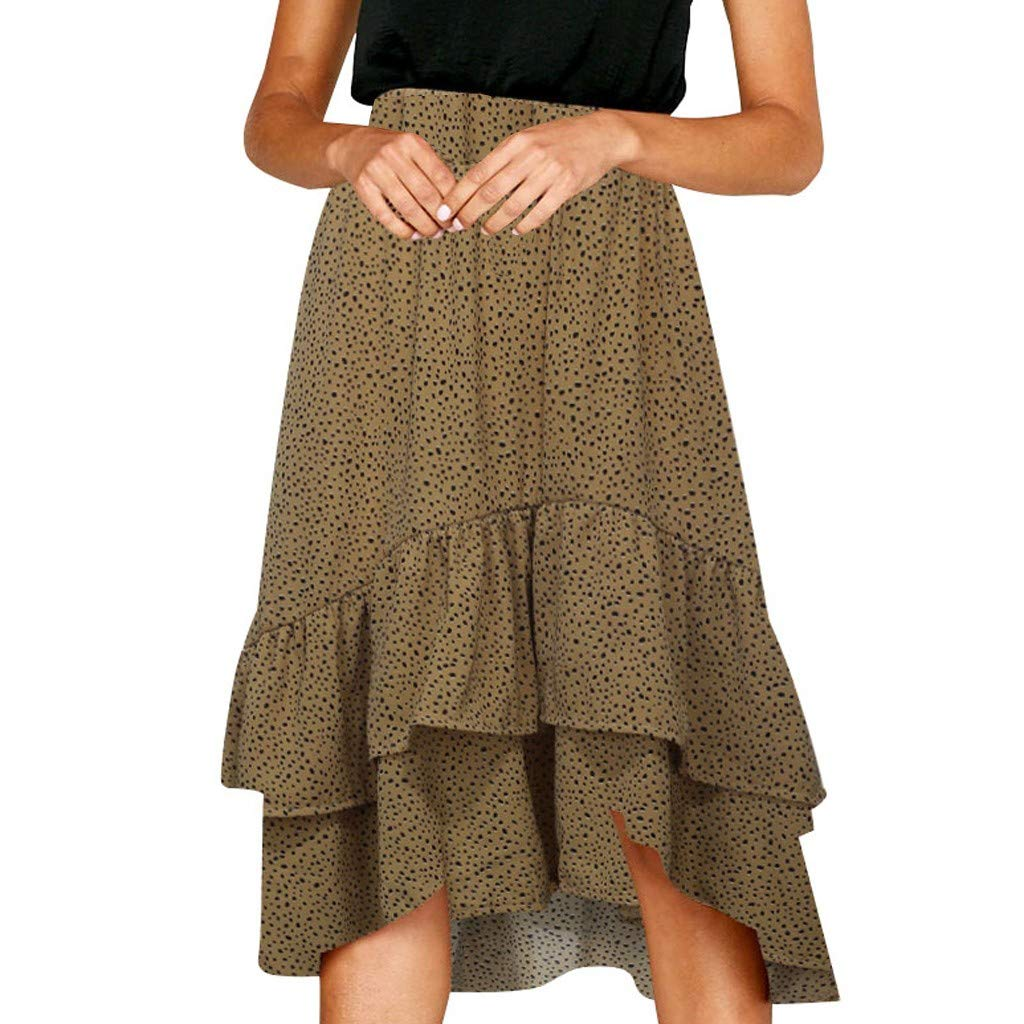 Bohemian Style Women's Dress Elastic Waistband Casual Ruffle Wave Point Frill Wrap Midi Skirt Khaki by UCQueen