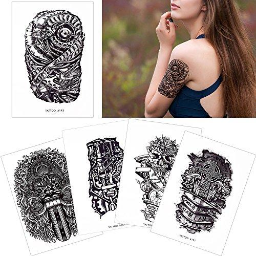 New 5 Sheets Machine Arm Leg Body Tattoo Fake Black Art Temporary Sticker Cool free shipping
