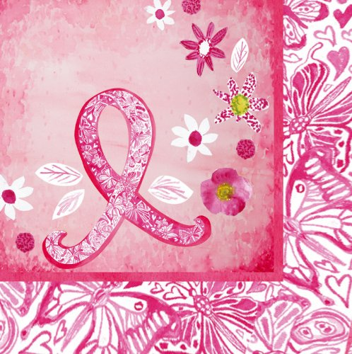 Pink Ribbon Floral Luncheon Napkins