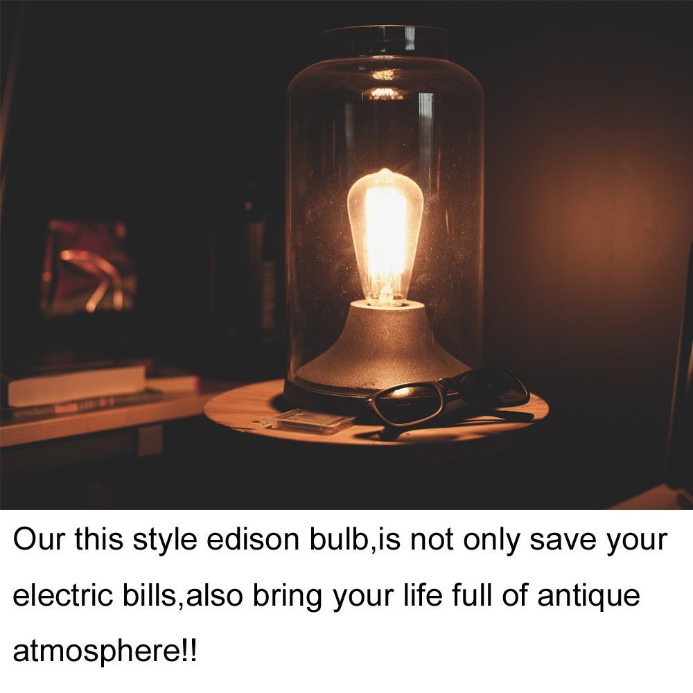ROHSCE 6W ST64 E26 Vintage Edison LED Light Bulbs Yellow Gold Antique Filament Light For Decorate Dimmable 2200K Amber Glass Warm Color 1 Pack