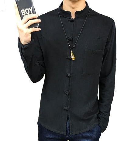 Camisas para Hombres Camisas De Lino De Manga Larga Cómodo Estilo Chino Transpirable: Amazon.es: Ropa y accesorios