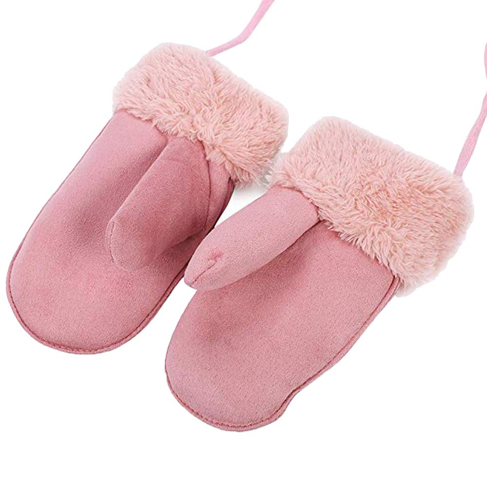 HIMI Children Windproof Mittens with String Cartoon Fleece Warm Gloves for 3T to 5T