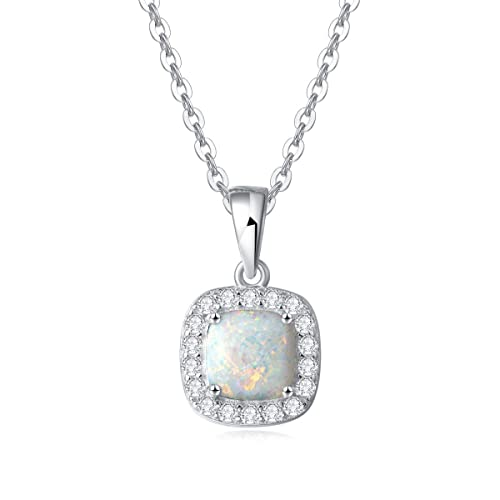 FANCIME Sterling Silver White Opal Necklace Cubic Zirconia CZ Fire Opal Halo Heart Teardrop Oval Pendant Fine Jewelry for Women Girls 16 2 Extender