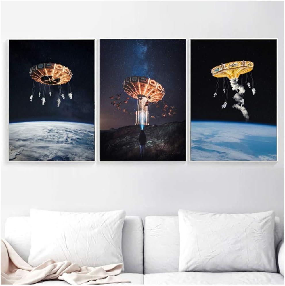 Surrealismo Aviones rotativos Carteles e impresiones nórdicos Creatividad Arte de la pared Pintura de la lona Cuadros de la pared para la decoración de la sala de estar-20x28x3 piezas SIN marco