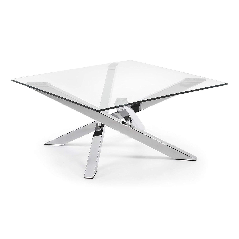 Kave Home Tavolino Kamido in vetro e gambe in acciaio