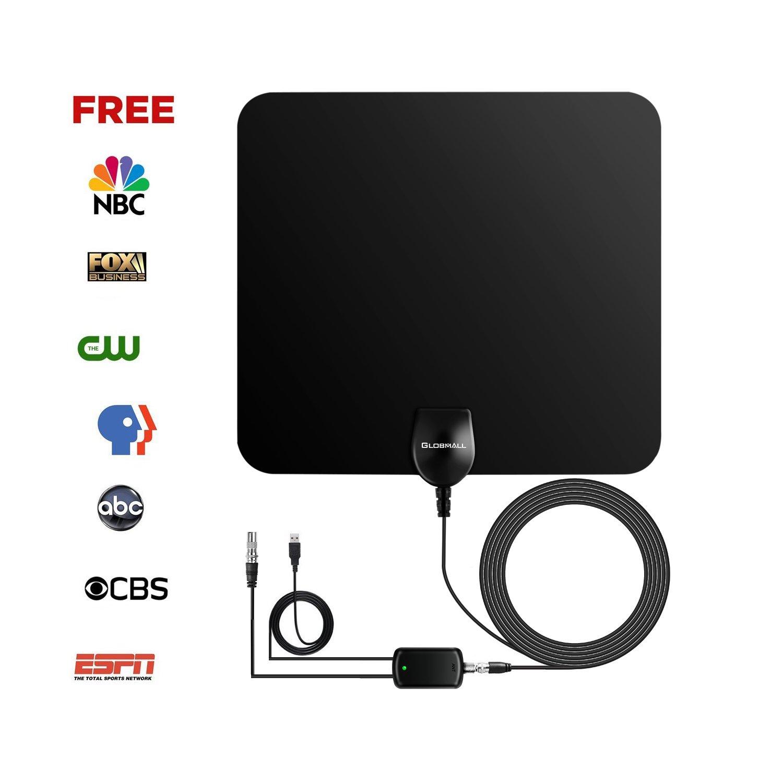 Globmall Antena de TV Portátil con Rango Amplificado de 80 km, Amplificador de Señal TV y Cable Coaxial de Alto Rendimiento de 13.2FT de Alta Calidad (2018 Última Versión)  (model C):