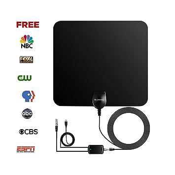 Globmall Antena de TV Portátil con Rango Amplificado de 80 km, Amplificador de Señal TV