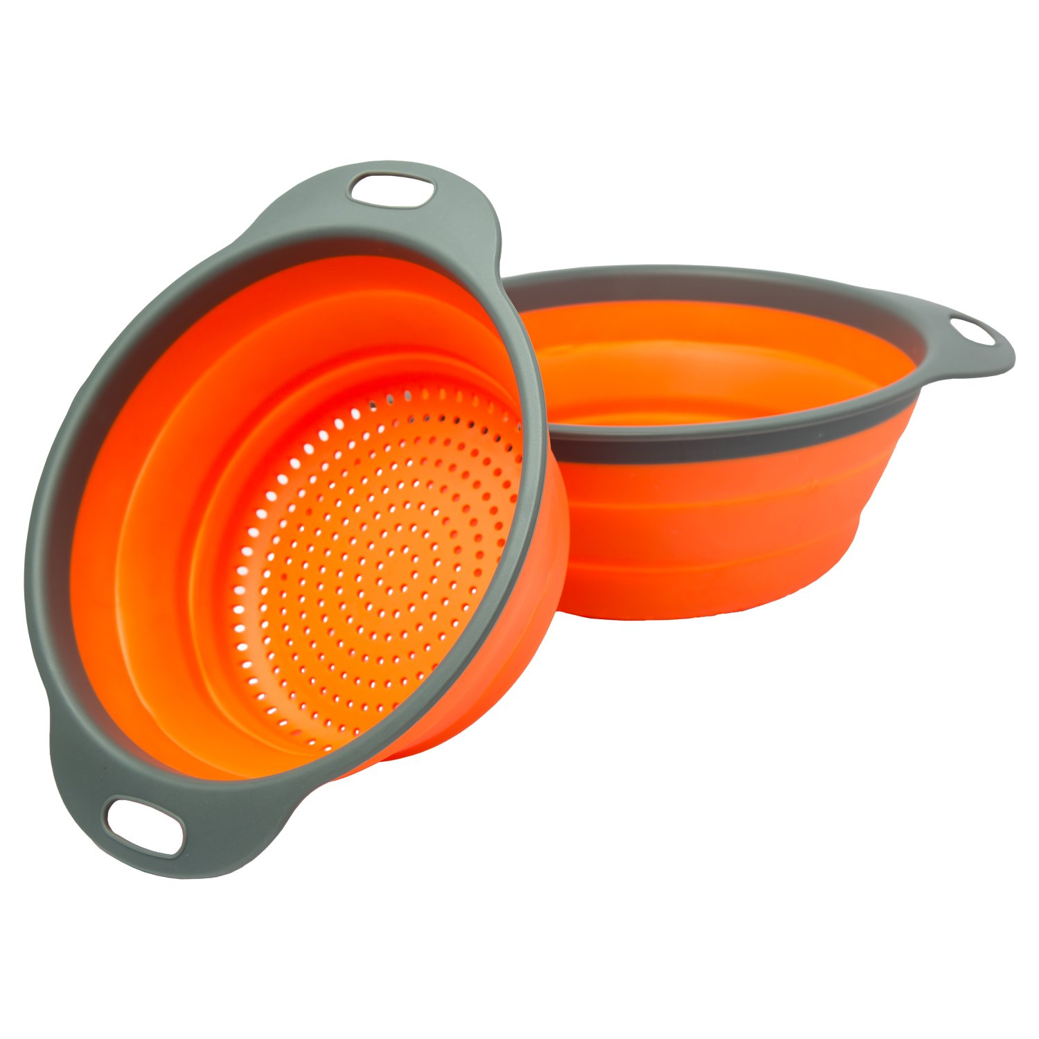 "Colander Set - 2 Collapsible Colanders (Strainers) Set By Comfify - Includes 2 Folding Strainers. Sizes 8"" - 2 Quart, and 9.5"" - 3 quart. (Orange and Grey)"