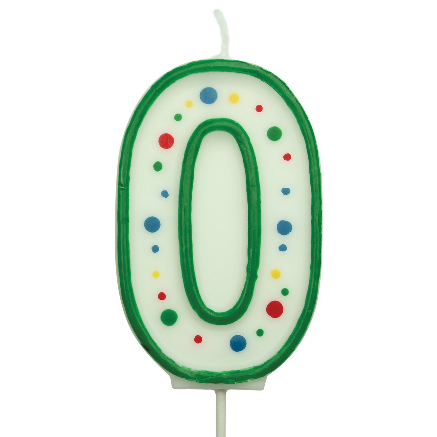 PME Large Numeral Number 0 Birthday Celebration Cake Green Candle 2.5 inches CA040