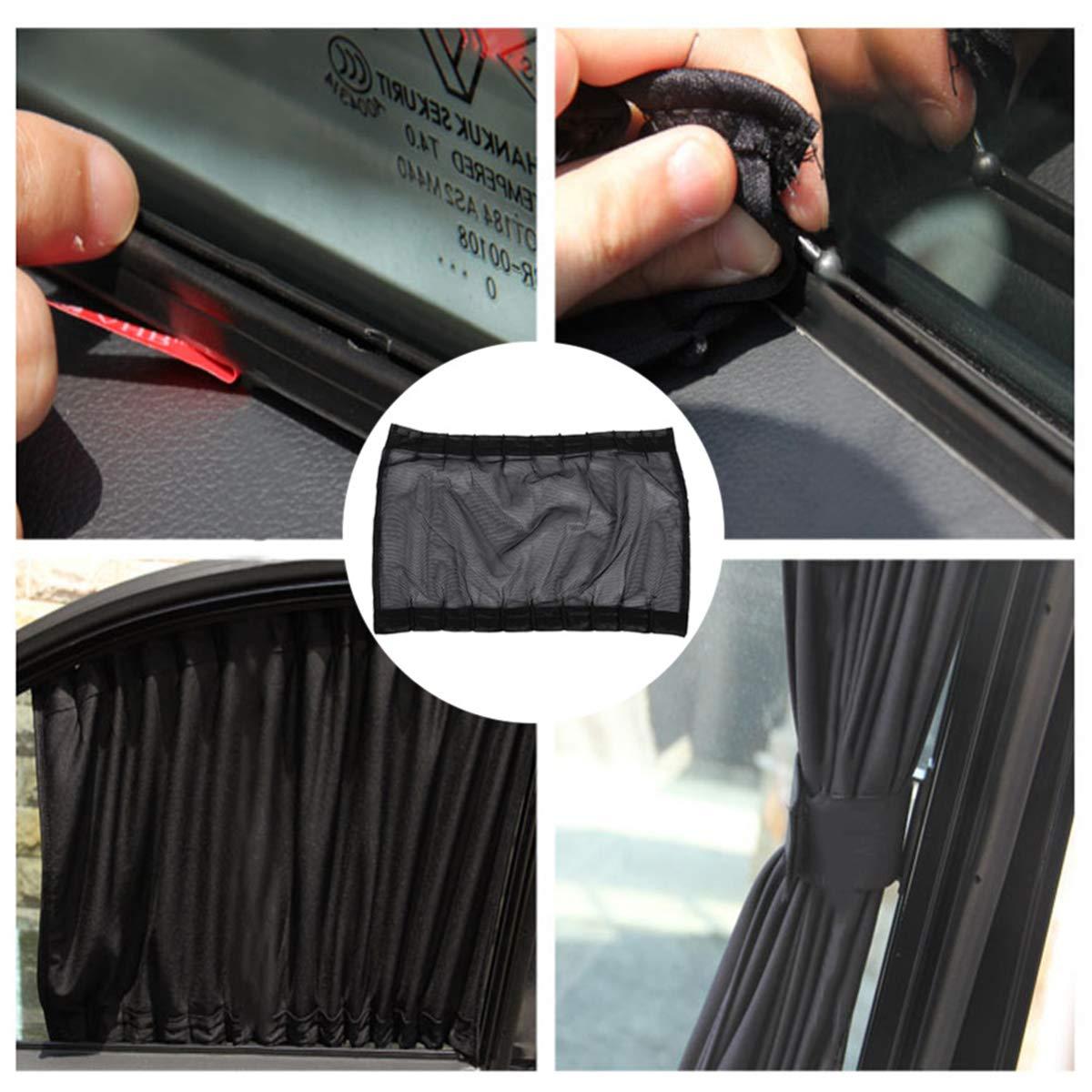 2 Pack Car Curtains Window Shades UV Protection Auto Privacy Shade Valances for Side Window Universal Windshield Sunshade Van Curtain Mesh Screen Blocks Heat Sun Shield Keeps Vehicle SUV Cool