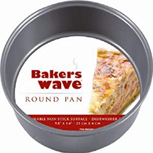 "Home Basics Durable Non-Stick Pan for Baking Cake or Pie, Dishwasher safe, Rolled Outer Edges for Easy Transfer, 10"""" X 1.5"""", Black"