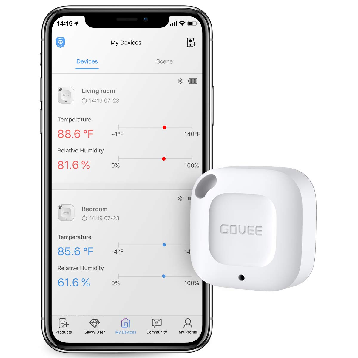 Govee Bluetooth Thermometer&Hygrometer, Mini Accurate Humidity and Temperature Sensor with Data Storage Export for iOS/Android, Temp Humidity Monitor with Alert for House Wine Living Room Baby Room