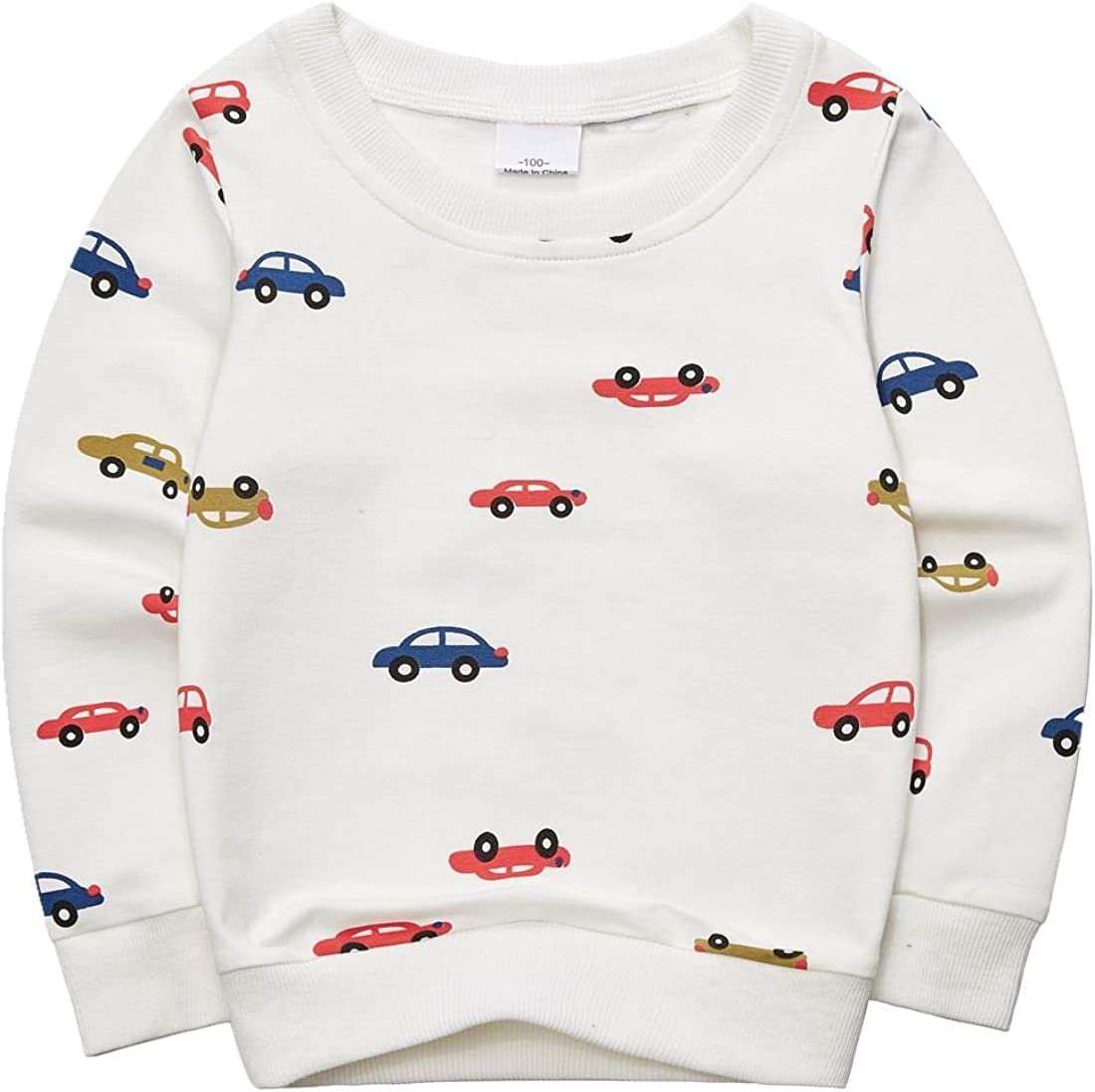 Sooxiwood Boys T-Shirt Printed Car Long Sleeve