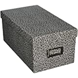 "Oxford Reinforced Board 4"" x 6"" Index Card Storage Box with Lift-Off Cover, Black/White Agate (40589)"