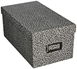 """Oxford Reinforced Board 4"""" x 6"""" Index Card Storage Box with Lift-Off Cover, Black/White Agate (40589)"""