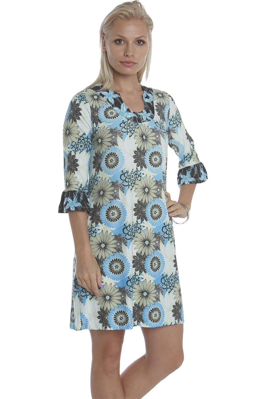 Ava Lynn by Santiki Bionca Three Quarter Sleeved Dress - Midnight Moon Flower Burst