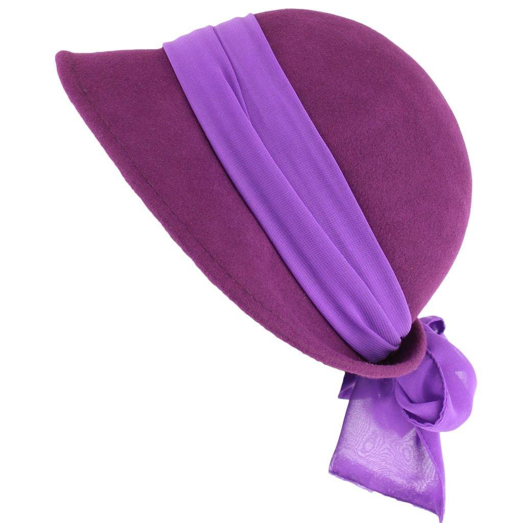 DAMEN GLOCKENHUT MIT CHIFFON-BAND UND SCHLEIFE, 100% WOLLE violett