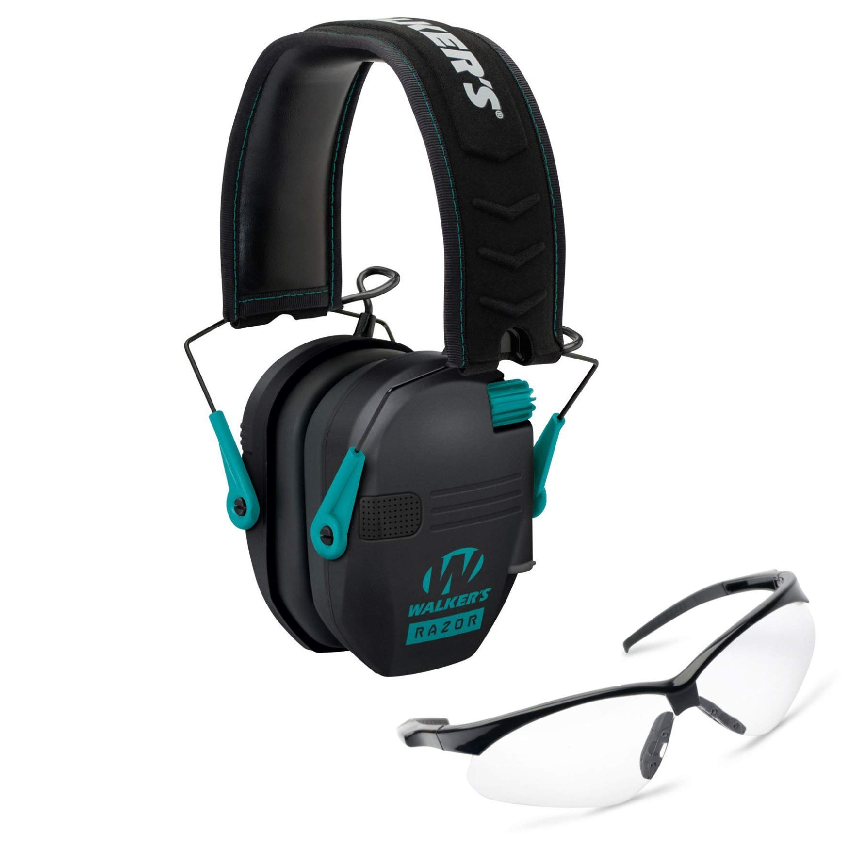 Walkers Razor Slim Electronic Shooting Hearing Protection Muff, Teal/Black (Sound Amplification and Suppression) with Shooting Glasses Kit by Walkers (Image #1)