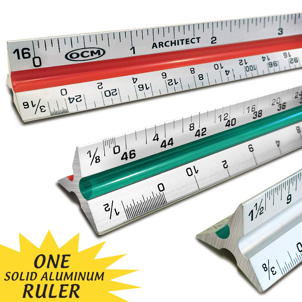 OCM 1 Triangular Architect Scale Ruler (Professional Grade Solid Aluminum) Color Coded 12 Inch Architectural Scale (Imperial Measurements) - Ideal for Architects, Engineers, Draftsman and Students by OCM Brand