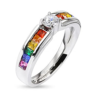 lesbian pride rainbow ring w middle cz center stone steel ring band rainbow pride - Rainbow Wedding Rings
