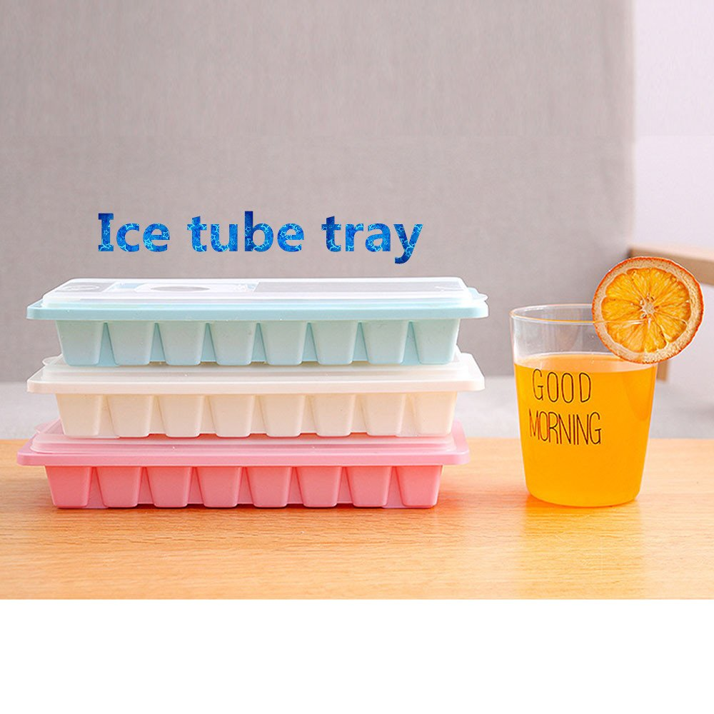 White Easy-Release Silicone and Flexible 16 Cavity Ice Trays with Spill-Resistant Removable Lid Jelly Freezer Mold Mould Maker KCPer Ice Cube Trays With Lid Cover