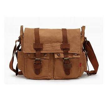0eabb3cc392 eBoTrade Men's Trendy Colonial Italian Style Messenger Bag with Leather  Straps - Khaki