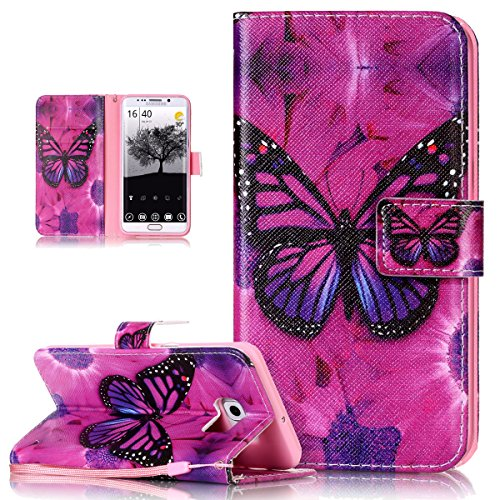 Price comparison product image Galaxy S6 Edge Plus Case, Galaxy S6 Edge Plus Cover, ikasus Colorful Art Painted PU Leather Fold Flip Wallet Cover Stand Card Slots Protective Case Cover for Samsung Galaxy S6 Edge Plus, Purple Butterfly