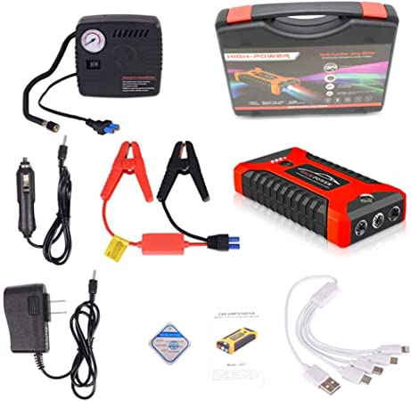 Aziteke Auto Starthilfe Powerbank 20000mah 4 Usb Smart Digital Tragbare Auto Starthilfe Notversorgungs Kit Batterie Für 6 0l Benzin Und 5 0l Dieselmotor Rot Standardkonfiguration Luftpumpe Auto