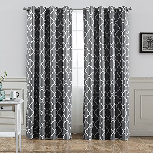 Jaoul Moroccan Blackout Curtains for Living Room Bedroom, Geometric Lattice Print Room Darkening Grommet Drapes, 52 x 84 Inch, 1 Panel (Grey)