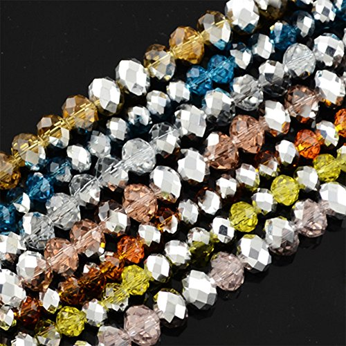 NBEADS 10 Strands Half Silver Plated Faceted Abacus Mixed Color Electroplate Glass Bead Strands with 6x4mm,Hole: 1mm,About 100pcs/strand ()