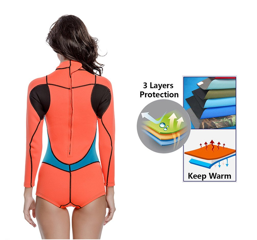 ae9f952f208 Amazon.com : Lynddora Womens One Piece Long Sleeve 2MM Neoprene Diving  Wetsuit Top Warm Protection : Clothing