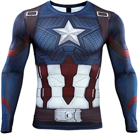 YXRL Hombres Capitán América Impresión Digital Sudoración Secado Rápido Ropa Ejercicio Fitness Medias Camisa Camiseta Deportiva De Manga Larga Blue A-XXXXL: Amazon.es: Hogar