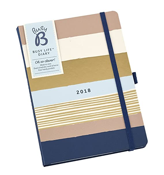 Busy B 2018 Busy Life Diary - A5 week to view agenda planner with pockets and dual schedules