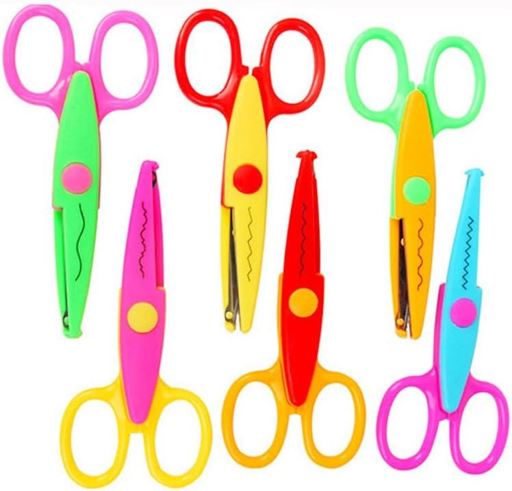 Jialeey Plastic Kids Design Safety Art Scissors Creative Crafts Scissors Paper Scrapbooking Decorative Wave Lace Edge Cutters Set 6 PCS