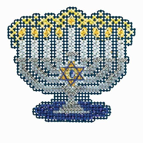 Menorah Beaded Counted Cross Stitch Hanukkah Ornament Kit Mill Hill 2018 Winter Holiday MH181833 -