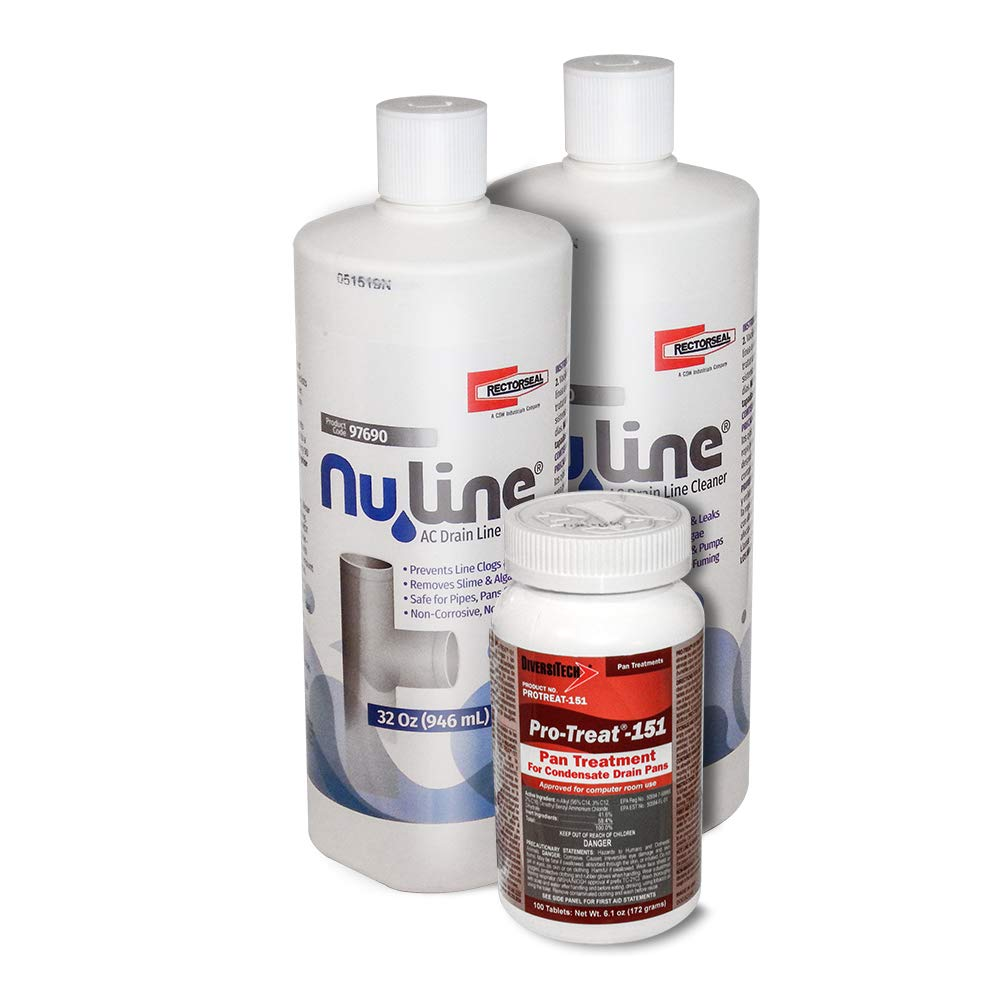 Fast Shipping! (2) Pack NuLine HVAC Condensate Drain Nu-Line Cleaner, 32 Ounce and (100) PT-151 PanTabs by NuLine