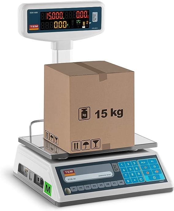 Steinberg Systems Display LCD Bilancia prezzatrice SBS-PW-100//10-100 kg campo di misura // 10 g precisione con dispositivo di illuminazione e display qualitativamente eccellente